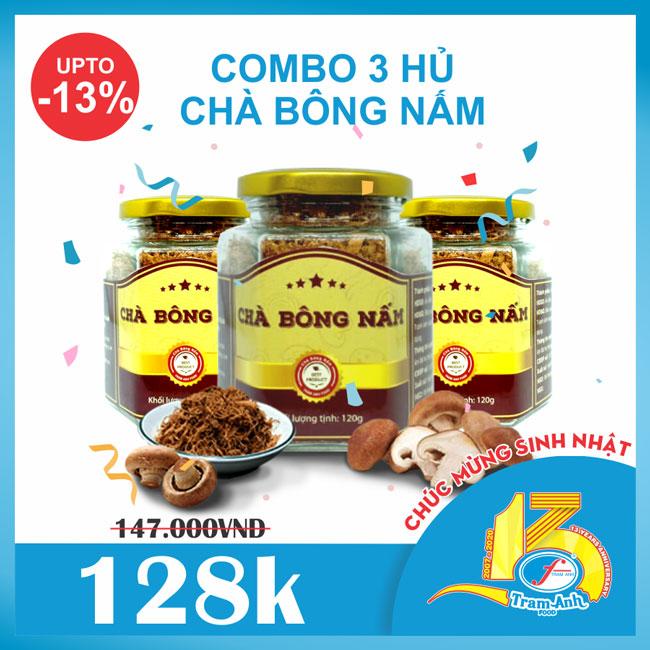 Combo 3 hủ chà bông nấm Hương